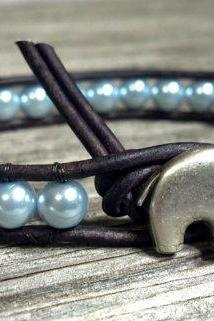 Pearl Leather Wrap Bracelet, Pearl, GOOD LUCK Elephant