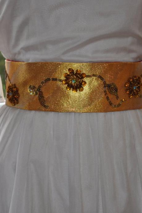 Sequin & Bead Sash - Gold Flowers on Gold