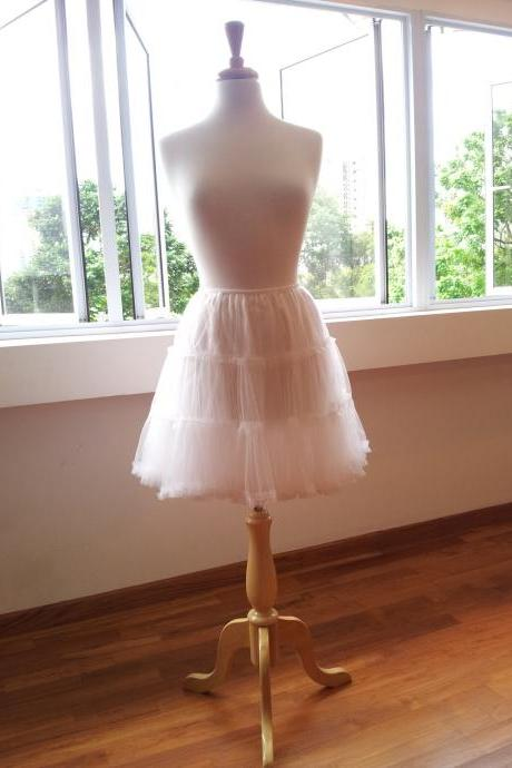 Fluffy, White Petticoat lined with Silk - for Romantic Dresses