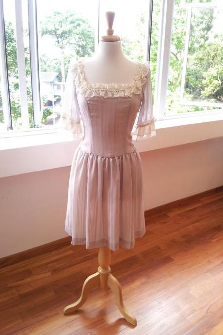Marie Antoinette Dress - Romantic, Grey Dress with Lace and Silk Chiffon trimming