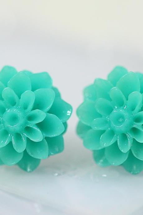 Turquoise Chrysanthemum Ear Posts, Bridal Jewelry, Bridesmaids Gift, Flowergirls Gift