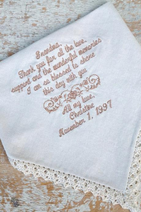 GRANDMOTHER from BRIDE Wedding heirloom handkerchief custom embroidered personalized hankie gift embroidery grandma