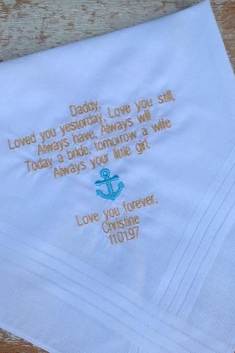FATHER OF BRIDE from daughter Wedding heirloom handkerchief custom embroidered personalized hankie gift embroidery dad