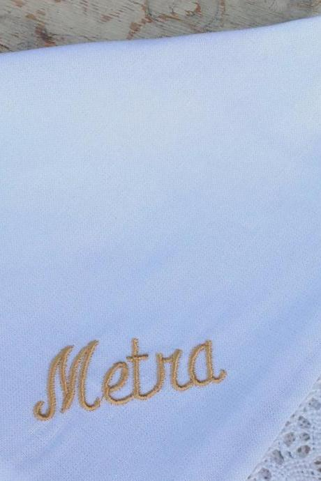 NAME heirloom handkerchief custom embroidered personalized hankie gift embroidery