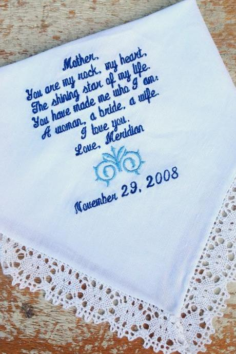 MOTHER from BRIDE Wedding heirloom handkerchief custom embroidered personalized hankie gift embroidery mom
