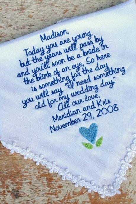Flower Girl from BRIDE Wedding heirloom handkerchief custom embroidered personalized hankie gift embroidery bridal party