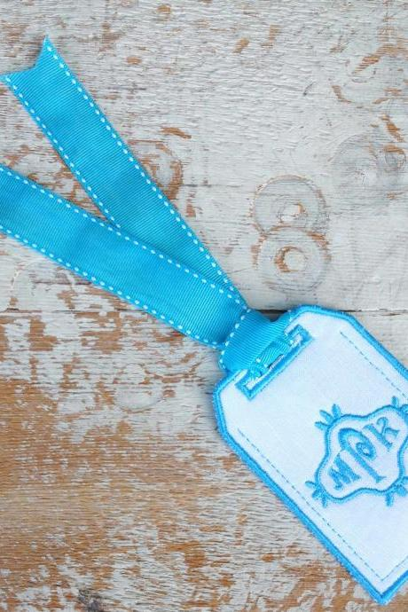 Luggage Tag Wedding heirloom custom embroidered personalized gift embroidery lunch name vacation