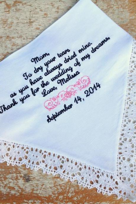 Mom from Bride Wedding heirloom handkerchief custom embroidered personalized hankie gift embroidery parents