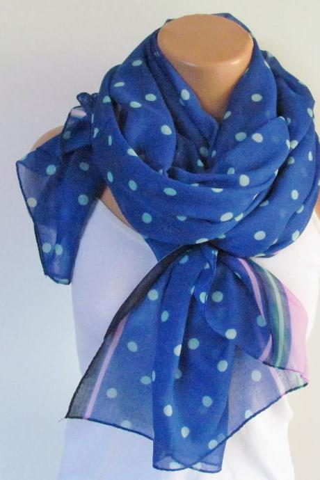 Polka Dot Scarf-Beach Pareo-Infinity Scarf- Beach Sarong-Long Scarf-New Season-Oversize Navy Blue Pink White Scarf