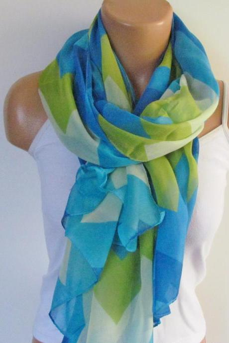 Zig Zag Scarf-Beach Pareo-Infinity Scarf- Beach Sarong-Long Scarf-New Season-Oversize Turquoise Blue Green Scarf