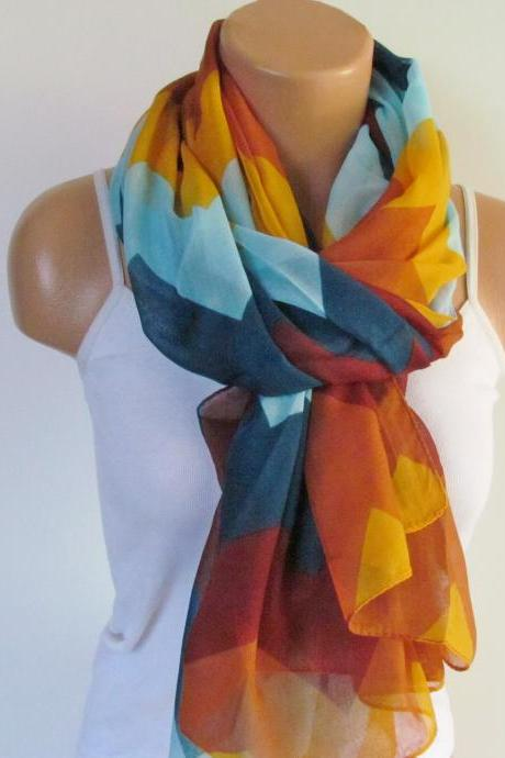 Zig Zag Scarf-Beach Pareo-Infinity Scarf- Beach Sarong-Long Scarf-New Season-Oversize TurquoiseYellow Orange Scarf