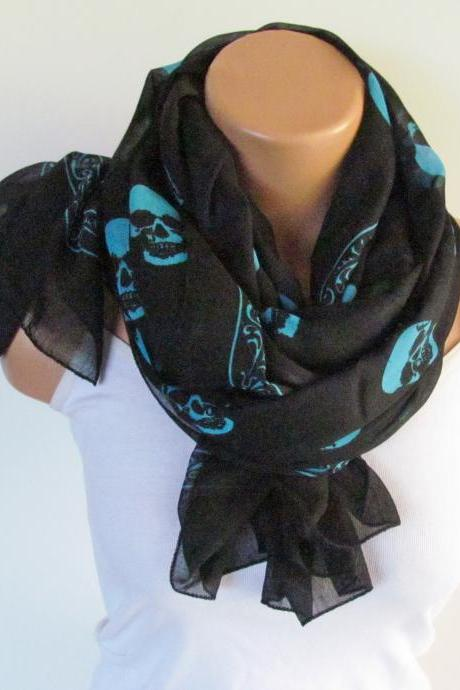 Skull Scarf-Beach Pareo-Infinity Scarf- Beach Sarong-Long Scarf-New Season-Oversize Turquoise Black Scarf
