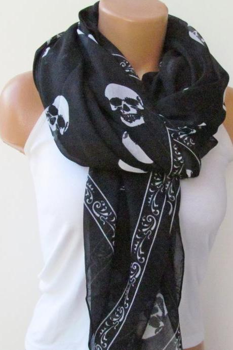 Skull Scarf-Beach Pareo-Infinity Scarf- Beach Sarong-Long Scarf-New Season-Oversize Black and White Scarf