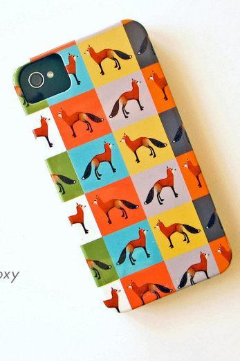 FOX Color Block IPhone 4/4s case Multi pattern Colors yellow, pink, green, purple, blue redtilestudio