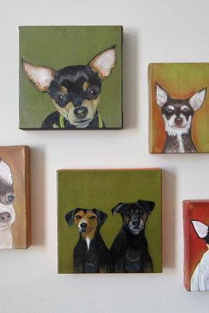 Dog Custom Painting Pet Portrait 8x8 Original Art Personalized Puppy Modern Canvas green black red tile studio