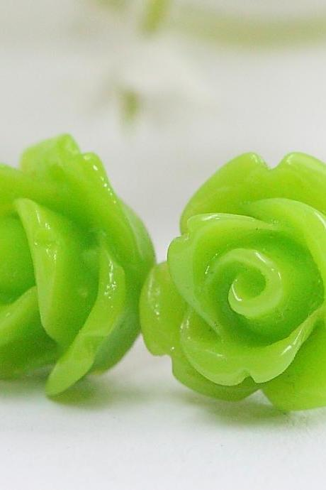 Apple Green Rose Ear Posts, Bridal Jewelry, Bridesmaids Gift, Flowergirls Gift