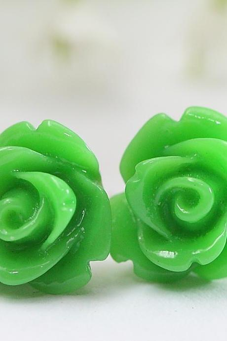 Green Rose Ear Posts, Bridal Jewelry, Bridesmaids Gift, Flowergirls Gift
