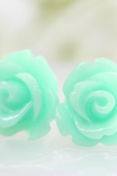 Aquamarine Rose Ear Posts, Bridal Jewelry, Bridesmaids Gift, Flowergirls Gift