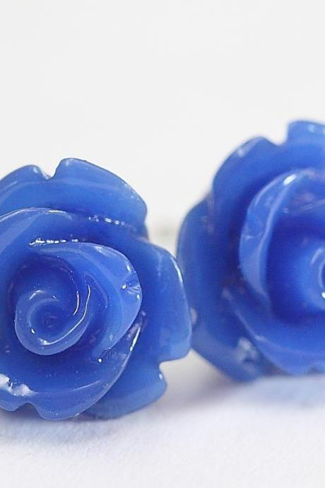 Dark Blue Rose Ear Posts, Bridal Jewelry, Bridesmaids Gift, Flowergirls Gift