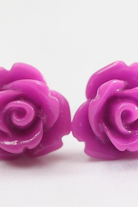 Purple Rose Ear Posts, Bridal Jewelry, Bridesmaids Gift, Flowergirls Gift