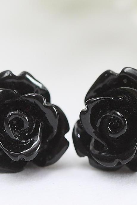 Black Rose Ear Posts, Bridal Jewelry, Bridesmaids Gift, Flowergirls Gift