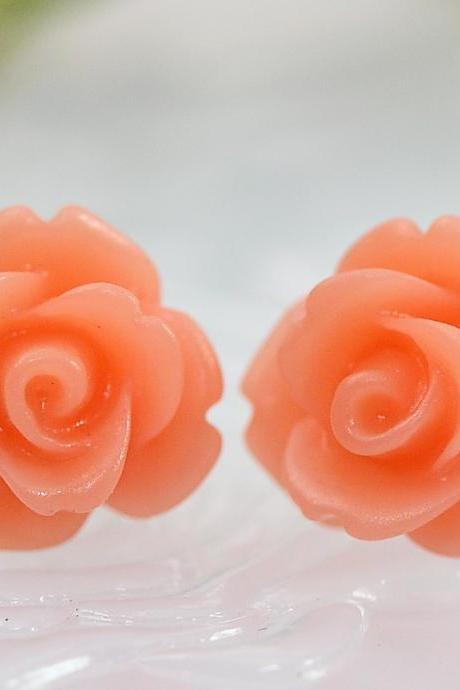 Frosted Orange Rose Ear Posts, Bridal Jewelry, Bridesmaids Gift, Flowergirls Gift