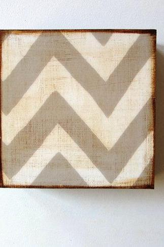Chevron Zig Zag Design 1 5x5 art block on wood Gray White graphic modern pattern shapes red tile studio