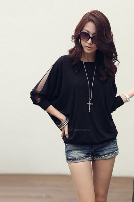 Free Shipping Loose-Fitting Voile Splicing Long Batwing Sleeve T-Shirt