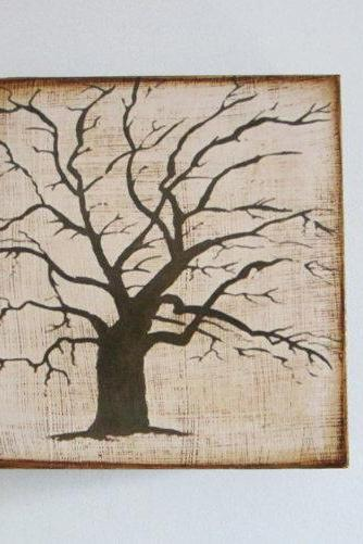 The Old Oak Tree 5x5 art block on wood Branch Brown Beige Shabby Chic Nature Hollow Forest Mysterious Red tile studio