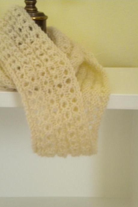 Cowl lacey, off white, Made with soft mohair and wool yarn