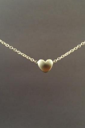 Tiny, Cute, Mini Heart, Sterling Silver or gold filled Chain, Necklace