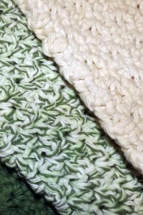 Green and Ecru dishcloth set