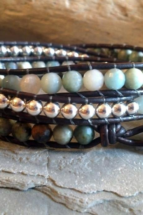 Triple wrap gemstone leather bracelet