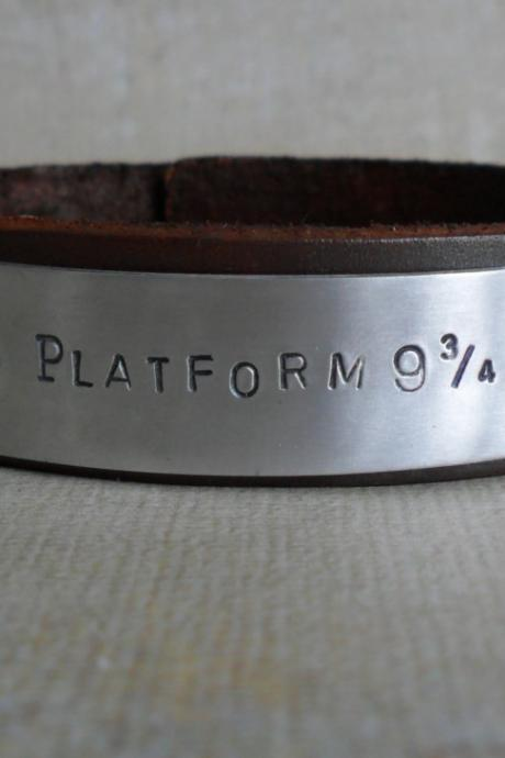 Personalized Harry Potter Platform 9 3/4 Men's Leather Bracelet Custom Women's Bracelet Unisex