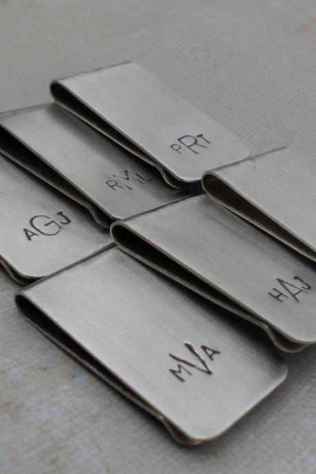 5 Money Clips Custom Initials Men's Moneyclips SET of 5 Wedding Groomsmen Gifts for Groom