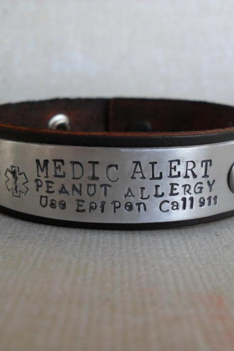 Leather Medical Bracelet Personalized Custom Lettering Peanut Allergy Diabetes Bracelet