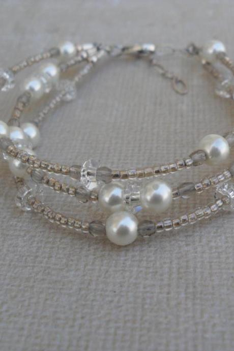 Wedding Bracelet Pearl and Crystal Multi-Strand Bracelet Delicate White Pearls and Crystals