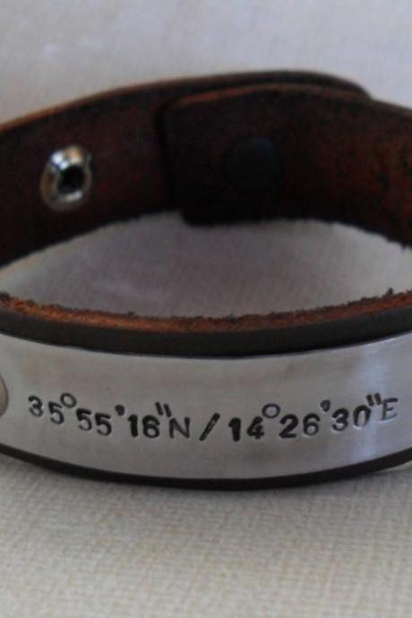 Brown Leather Personalized GPS Coordinates Bracelet Leather Bracelet Longitude Latitude Custom GPS