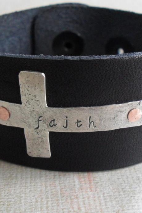 Sterling Silver Cross Rustic Faith Black Leather Bracelet Black leather cuff with SIlver Sideways Cross