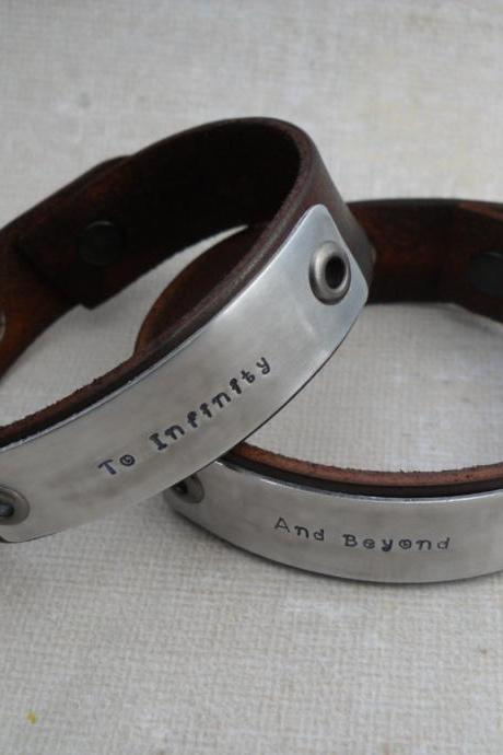 To Infinity And Beyond Bracelets 2 Matching Leather Bracelets Couples Set of Two Couples Gift