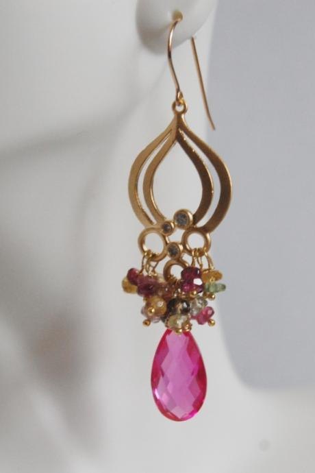 Hot pink Quartz And Multi Tourmaline Chandelier Earrings