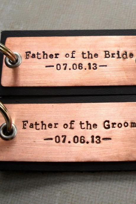 Father of the Bride and Father of the Groom Gift set Wedding party gifts keychain GIFT SET