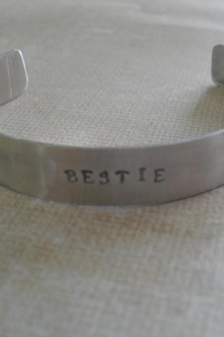 Set of 2 Bestie Bracelets Two Best Friends Aluminum Bracelets Friendship Bracelets