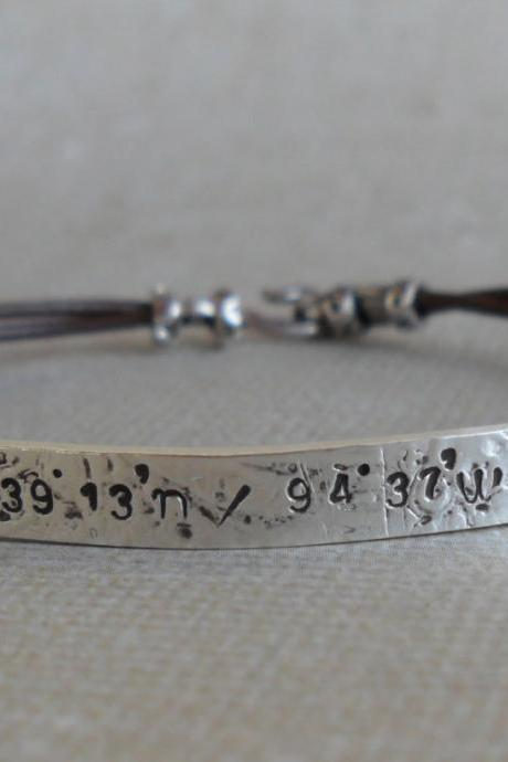 Personalized Women's Leather Sterling Silver Bracelet Custom Bracelet GPS Coordinates