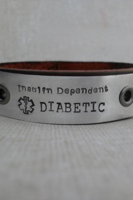 Men's Leather Bracelet Medical Diabetic Custom Diabetes Bracelet