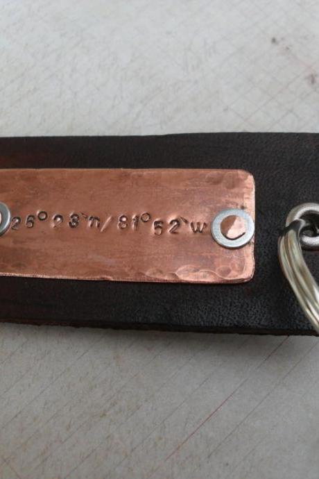 Men's Leather Copper Keychain Longitude Latitude Custom GPS Coordinates Hipster Keychain