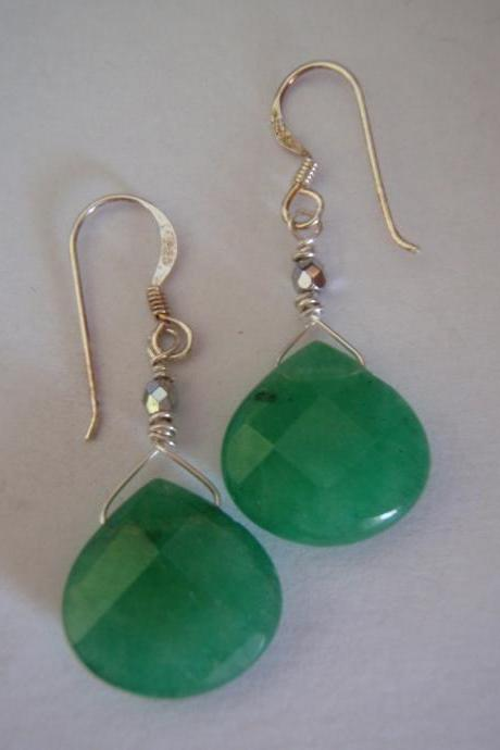 Green Earrings Faceted Gemstone and Sterling Silver
