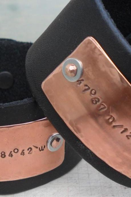 Leather Personalized Bracelet Wide Cuff Longitude Latitude Custom GPS Coordinates Cuff Bracelet