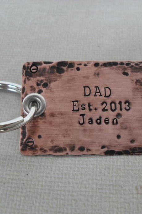 Personalized Father's Keychain Dad Rustic Keychain Hipster Copper Keychain Custom names Message Hipster Dad Fathers Day