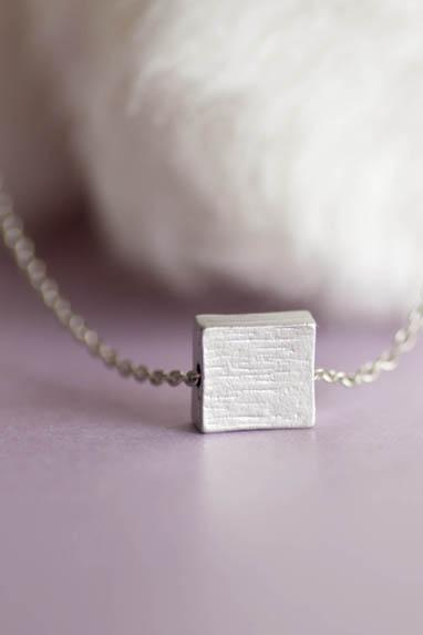 Silver Square Necklace, Textured Surface Duo Sides Square Charm Necklace